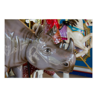 Rhinoceros Carousel Ride on Merry-Go-Round Photo Poster