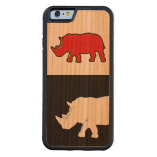 rhinoceros cool & modern carved cherry iPhone 6 bumper case