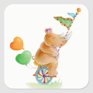 Rhinoceros on a unicycle whimsy watercolor art square sticker