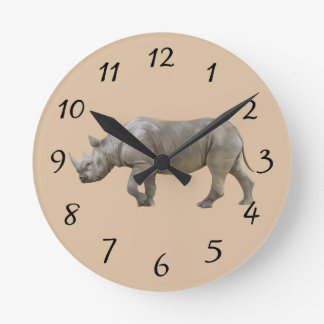 Rhinoceros Round Clock