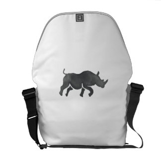 Rhinoceros Silhouette Running Watercolor Courier Bags