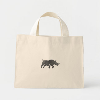 Rhinoceros Silhouette Running Watercolor Mini Tote Bag