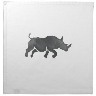 Rhinoceros Silhouette Running Watercolor Napkin