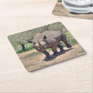 rhinoceros square paper coaster