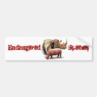 Rhinoceros The Endangered Species Sticker Bumper Sticker