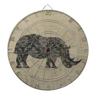 Rhinoceroses Silhouette Dartboard
