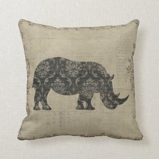 Rhinoceroses Silhouette  MoJo Pillow