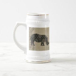 Rhinoceroses Silhouette Stein Coffee Mug