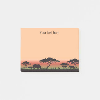 Rhinos in Silhouette Blue Sky Post it Notes