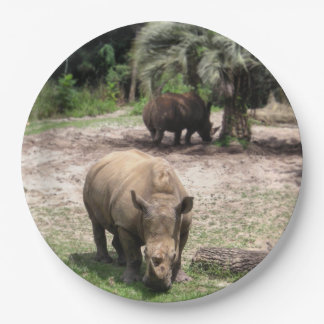 Rhinos on Safari Paper Plate