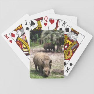 Rhinos on Safari Playing Cards