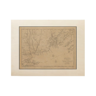 Rhode Island 1780 Historic Map Wood Poster