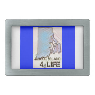 """Rhode Island 4 Life"" State Map Pride Design Belt Buckles"