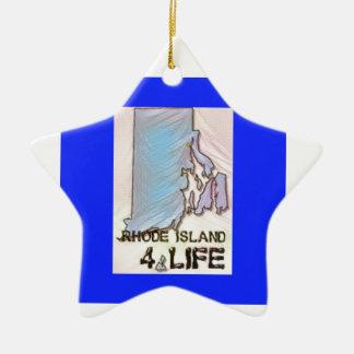 """Rhode Island 4 Life"" State Map Pride Design Ceramic Ornament"