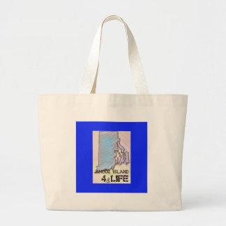 """Rhode Island 4 Life"" State Map Pride Design Large Tote Bag"