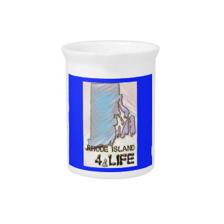 """Rhode Island 4 Life"" State Map Pride Design Pitcher"