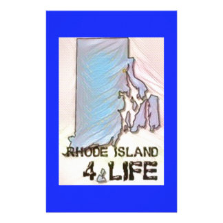 """Rhode Island 4 Life"" State Map Pride Design Stationery"