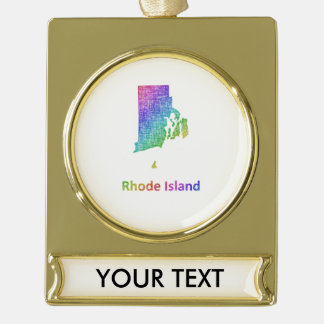Rhode Island Gold Plated Banner Ornament