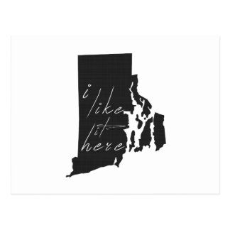 Rhode Island I Like It Here State Silhouette Black Postcard