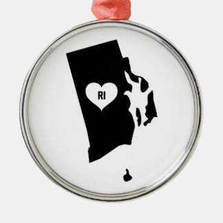 Rhode Island Love Metal Ornament