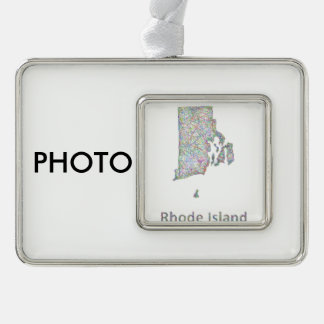 Rhode Island map Silver Plated Framed Ornament