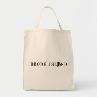 Rhode Island Name with State Shaped Letter Tote Bag