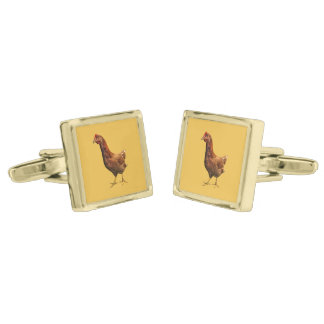 Rhode Island Red Hen Chicken Cufflinks Gold Finish Cufflinks