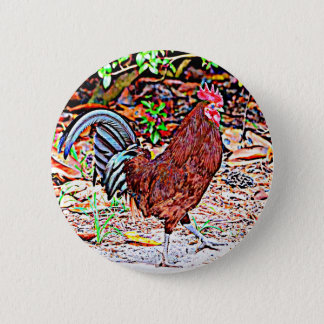 Rhode Island Red Rooster 6 Cm Round Badge