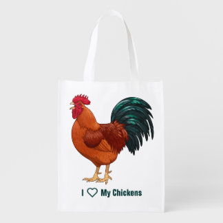 Rhode Island Red Rooster Crowing Reusable Grocery Bag