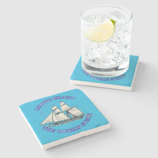 Rhode Island Sailing Ship Shield Stone Coaster