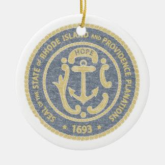 Rhode Island Seal Ceramic Ornament