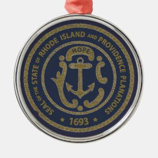 Rhode Island Seal Metal Ornament