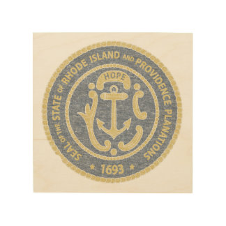 Rhode Island Seal Wood Wall Art