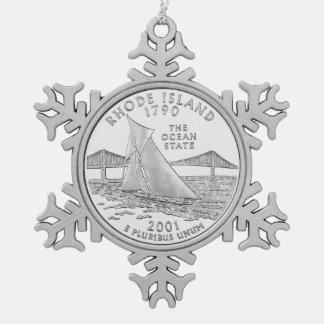 Rhode Island State Quarter Snowflake Pewter Christmas Ornament