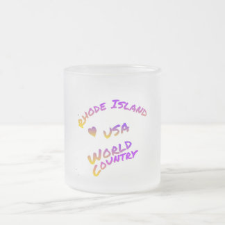 Rhode Island usa world country,  colorful text art Frosted Glass Coffee Mug