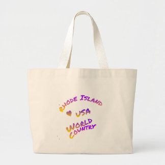 Rhode Island usa world country,  colorful text art Large Tote Bag