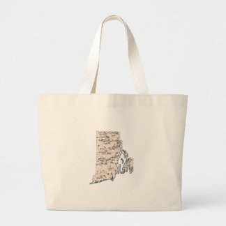 Rhode Island Vintage Picture Map Large Tote Bag