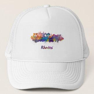 Rhodes skyline in watercolor trucker hat