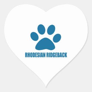 RHODESIAN RIDGEBACK DOG DESIGNS HEART STICKER