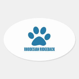 RHODESIAN RIDGEBACK DOG DESIGNS OVAL STICKER