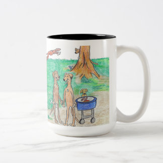 Rhodesian Ridgeback Family Reunion Two-Tone Coffee Mug