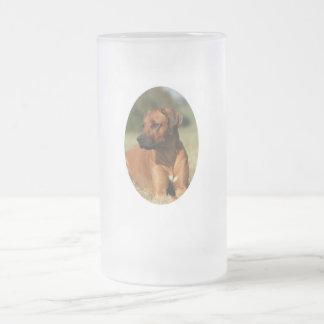 Rhodesian Ridgeback frosted glass mug