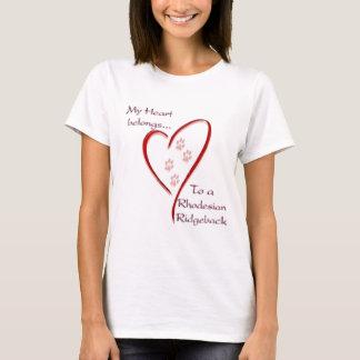 Rhodesian Ridgeback Heart Belongs T-Shirt