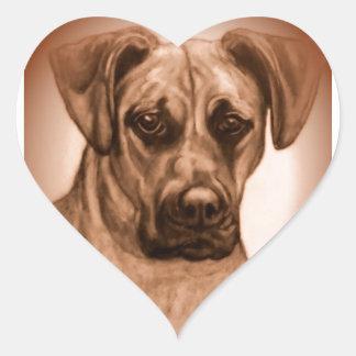 Rhodesian Ridgeback mix original artwork Heart Sticker