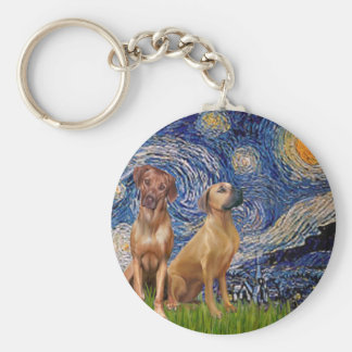 Rhodesian Ridgeback Pair - Starry Night Key Ring
