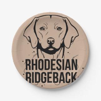 Rhodesian Ridgeback Portrait Paper Plate