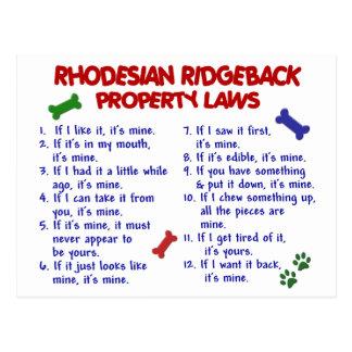 RHODESIAN RIDGEBACK Property Laws 2 Postcard