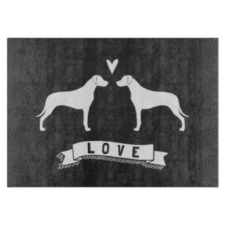 Rhodesian Ridgeback Silhouettes Love Cutting Board