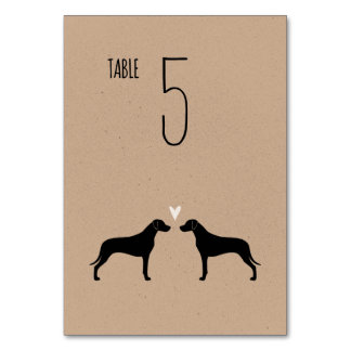 Rhodesian Ridgeback Silhouettes Wedding Table Card