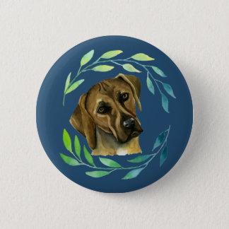 Rhodesian Ridgeback with a Wreath Watercolor 6 Cm Round Badge